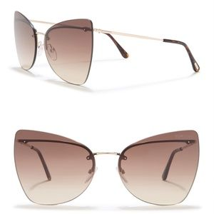 New TOM FORD Presley Butterfly Brown Sunglasses